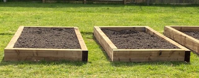 Photograph of raised beds made with railway sleepers